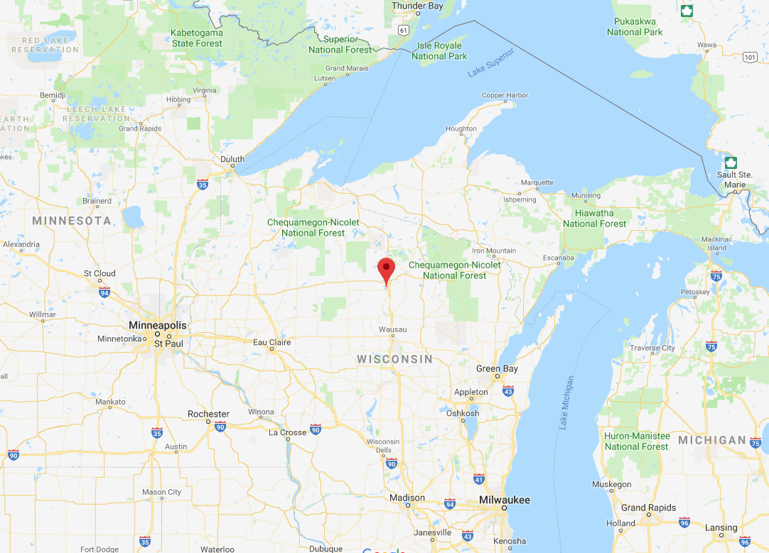 Location of Tomahawk WI on map