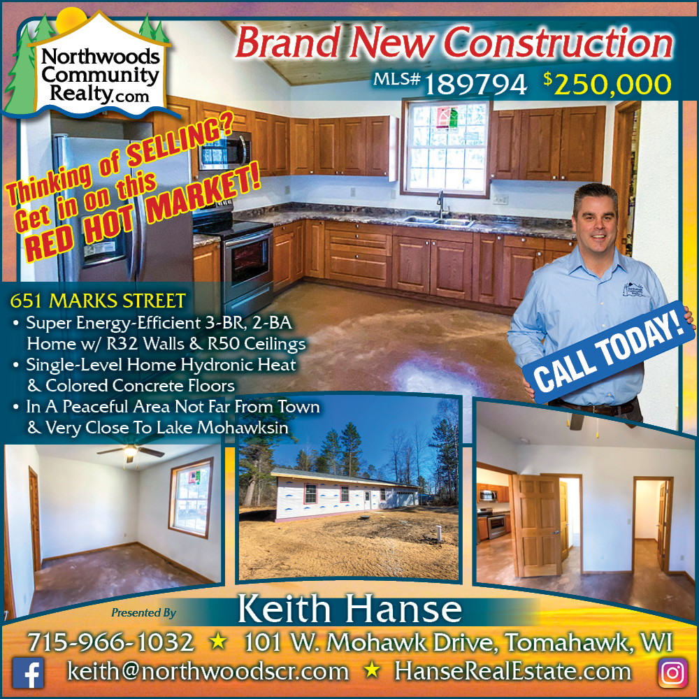 Lakefront homes, waterfront lots, lakeside cabins, off water houses, hunting land, commercial property, and all MLS listings for sale in Northern Wisconsin. Call Northwoods Community Realty for all your real estate needs. Whether you're a first time home buyer or you're looking for a vacation home from Lake Nokomis to Lake Minocqua, call Tomahawk's leading real estate office.